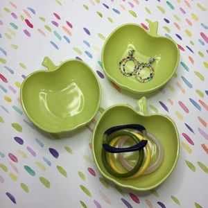Vintage lime green apple dishes set of three